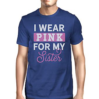 I Wear Pink For My Sister Mens Breast Cancer Awareness Shirt Blue