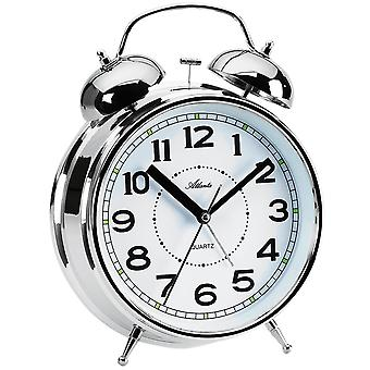 Atlanta 1648/19 alarm clock quartz silver Bell alarm clock twin Bell alarm clock with light
