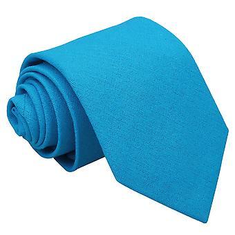 Cravate classique lin natté bleu turquoise