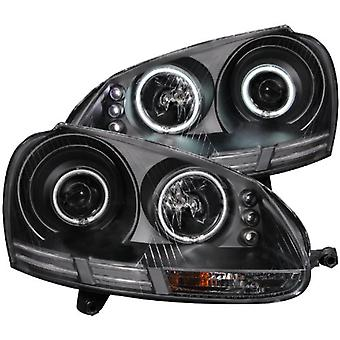 AnzoUSA 121345 Black Clear Projector halo Headlight with CCFL - (Sold in Pairs)