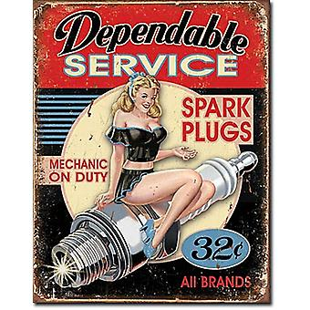 Dependable Service Spark Plugs Metal Sign