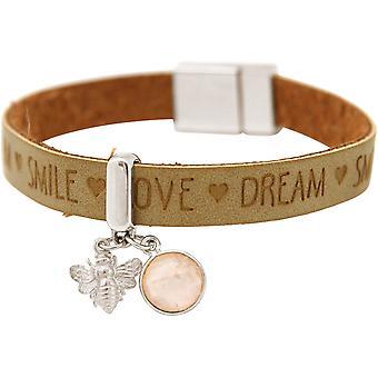 Gemshine - Damen - Armband - BEE - Biene - 925 Silber - WISHES - Braun Sand - Rosenquarz - Rosa - Magnetverschluss
