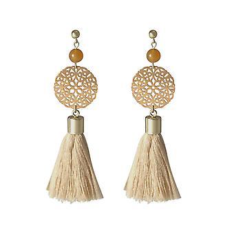 Gemshine - mala earring - gold plated - gemstone - salmon - beige - 5 cm