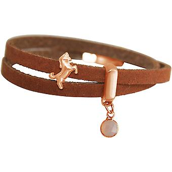 GEMSHINE Brown Leather wristband with Unicorn and Rose Quartz. Girls gift gold plated rose or silver. In a fine case. Made in Munich, Germany