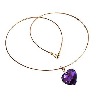 Gemshine - kvinner - hjerte - kjede - anheng - gullbelagt - blå - purple - MADE WITH SWAROVSKI ELEMENTS® - 45 cm