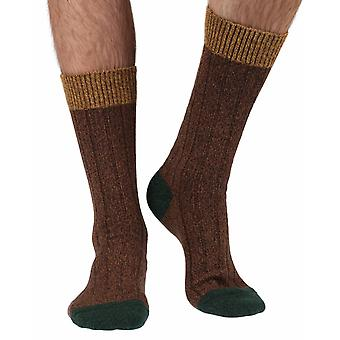Burghley warm men's wool boot sock in conker marl | By Scott-Nichol
