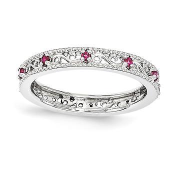 3mm sterlingsølv poleret Prong sæt Rhodium-belagt stabelbare udtryk lavet Ruby Ring - ringstørrelse: 5-10