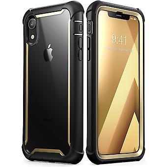 caso del iPhone XR, [Ares] caso de parachoques resistente claro de cuerpo completo con Protector de pantalla incorporado (2018 Release)(Gold)