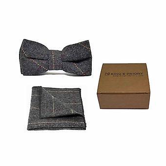 Luxury Herringbone Charcoal Grey Tweed Men's Bow Tie & Pocket Square Set | Boxed