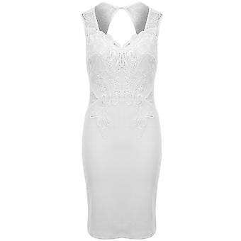 Damen V Neck Floral Häkelspitzen texturiert Schlüsselloch offenen Rücken figurbetonten Kleid