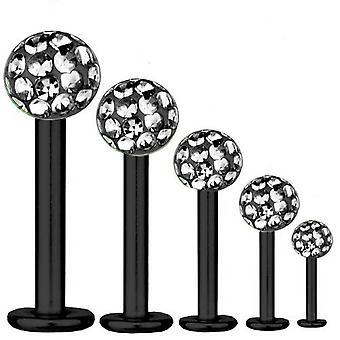 Labret Bar Tragus Piercing titanio negro 1.6, Multi cristal bola de diamante negro
