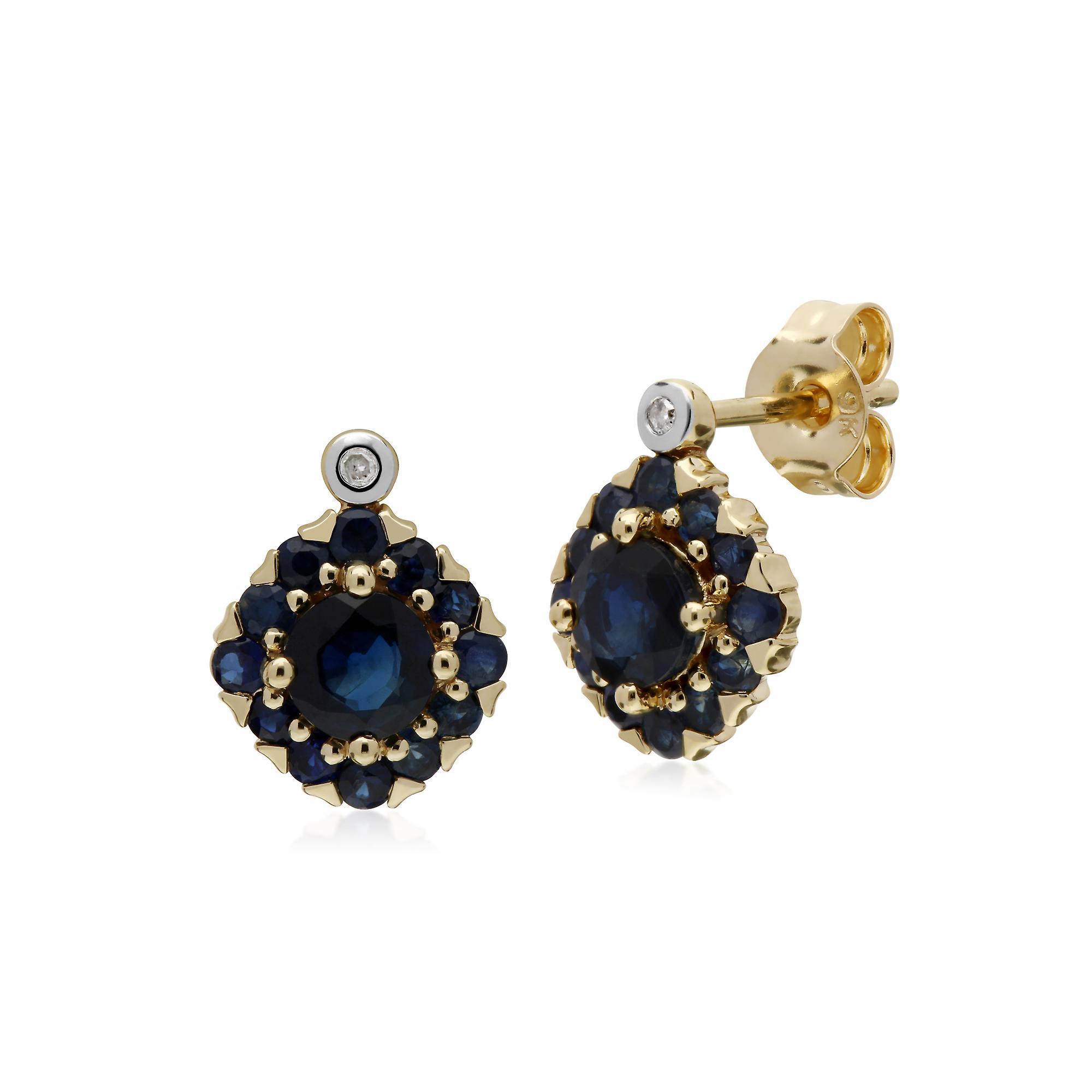 Gemondo 9ct jaune or Sapphire & Diamond Square Cluster Stud boucles d'oreilles