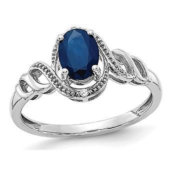 Ladies 1.00 Carat (ctw) Natural Blue Sapphire Ring in 10K White Gold