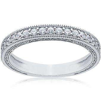 1 / 2ct Vintage boda anillo 14K oro blanco