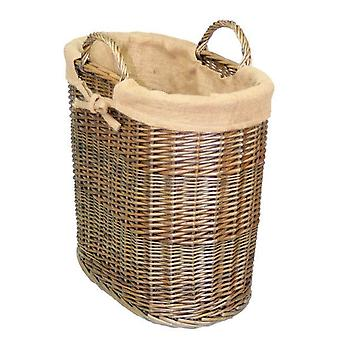 Hessian Lined Oval Log and Storage Basket