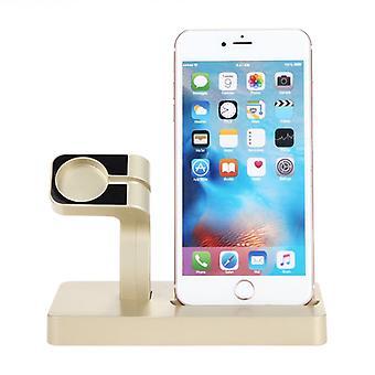 USB de carga del soporte para el iPhone y Apple Watch-oro