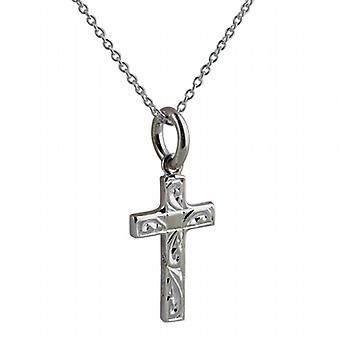 Silver 17x10mm hand engraved solid block Cross with a rolo Chain 14 inches Only Suitable for Children