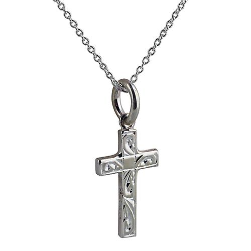 Silver 17x10mm hand engraved block Cross with Rolo chain