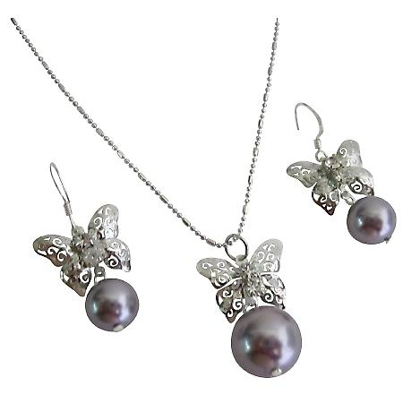 Vibrant Color Very Beautiful Gift Cool Mauve Pearls Prom Jewelry