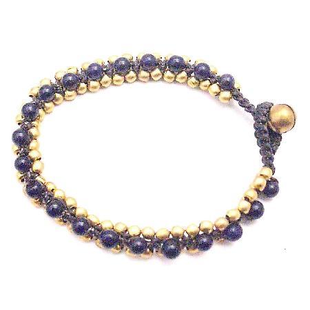 Gift Jewelery Golden Beads & Amethyst Stone Bracelet