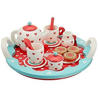 Zestaw do herbaty drewniane serca Jamm indygo z zasobnika - 13 szt.