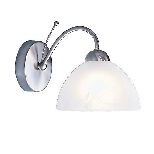 Searchlight 1131-1SS Milanese Modern Single Wall Light With Alabaster Glass