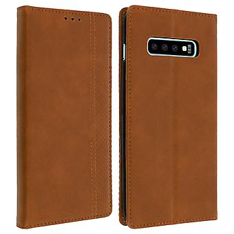 Samsung Galaxy S10 Plus Case Folio Case Card Holder Function Support - Brown