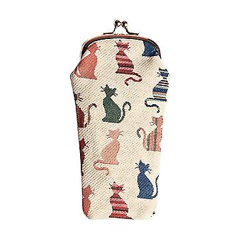 Cheeky cat glasses pouch by signare tapestry / gpch-cheky