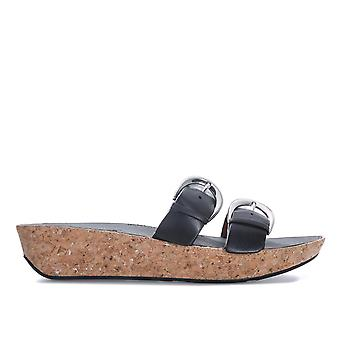 Womens Fitflop Duo Buckle Slide Sandalen In Black