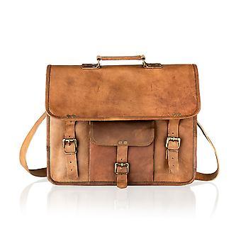 Vintage Tan Satchel Briefcase Single Front Pocket 15