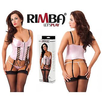 Amorable' by Rimba Lingerie Lacing Detail Basque, String, & Stockings