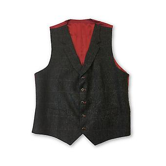 Santinelli waistcoat in brown tweed with red check