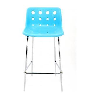 Loft Robin Day 4 Gamba Blu Brillante Plastica Polo Bar Sgabello