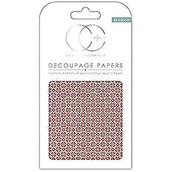 Craft Consortium Red Nordic Repeat Decoupage Papers (CCXDECP009)