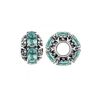 Storywheels Oxidised Silver & Swiss Blue Topaz Charm S383SW