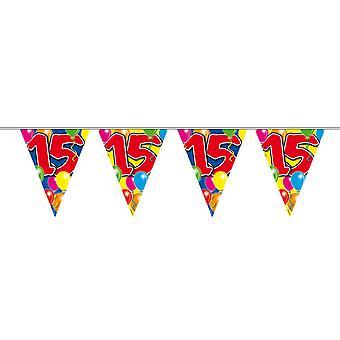 Wimpelkette 10m Zahl 15 Jahre Geburtstag Deko Party Girlande