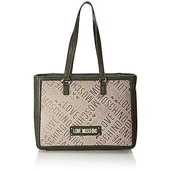 Love Moschino Bag Jacquard Natur E Grain Pu Tote Donna (Natural/Green) 26x12x37 cm (W x H x L)