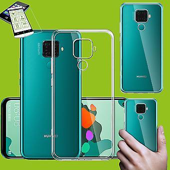 Für Huawei Mate 30 Lite Silikoncase TPU Transparent + 0,26 H9 Glas Tasche Hülle Schutz Cover