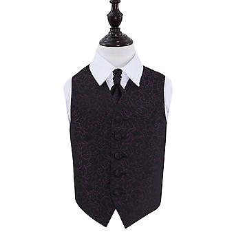 Boy's Black & Purple Swirl Patterned Wedding Waistcoat & Cravat Set