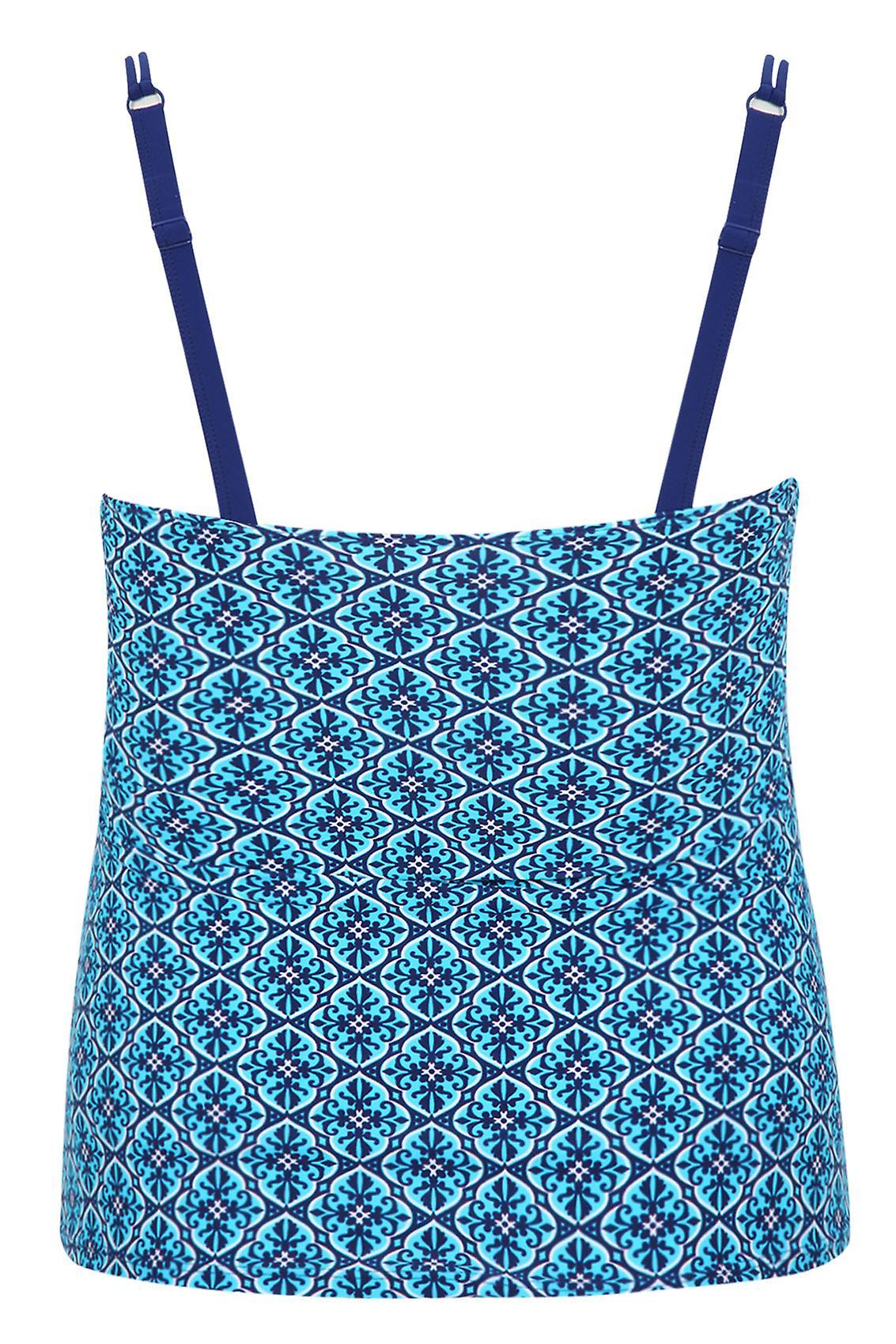 TUMMY CONTROL Turquoise Tile Print Tankini Top