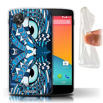 STUFF4 Gel TPU Case/Cover for LG Google Nexus 5/D821/Owl-Blue/Aztec Animal