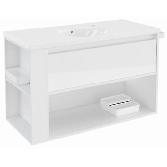 Bath+ 1 Drawer + Shelf With White Porcelain Sink Gloss White 100