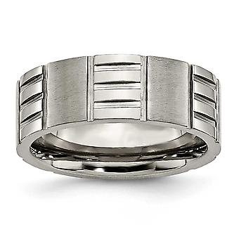 Titanium Engravable Polished and satin Notched 8mm Satin and Polished Band Ring - Ring Size: 7 to 13