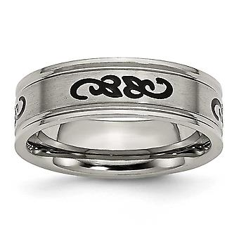 Titanium Brushed Engravable with Black Rubber Scroll Design Ridged Edge 7mm Band Ring - Ring Size: 7 to 13