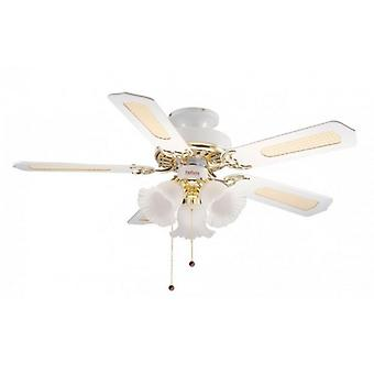 Ceiling Fan Belaire White / Brass with light 107 cm / 42