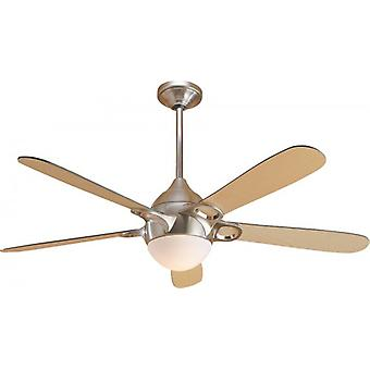 "Ceiling Fan Lugano 132 cm / 52"" brushed chrome with light"