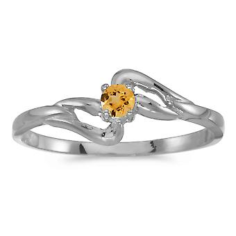 14k White Gold Round Citrine Ring