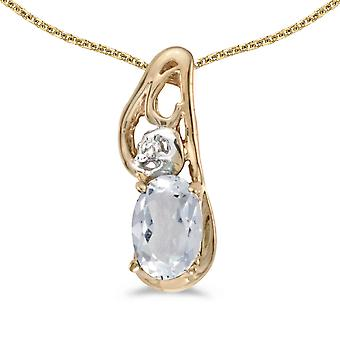 14k Yellow Gold Oval White Topaz And Diamond Pendant with 18
