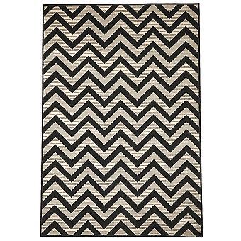 Moderne sort & elfenben Chevron tæppe - Floorit