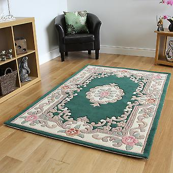 Bottle Green Traditional Wool Rug Imperial